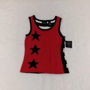 Crazy Horse Liz Claiborne Co Top Red/White,blue SP
